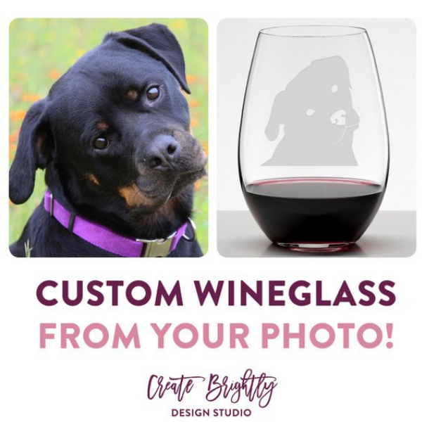 custom dog wine glass