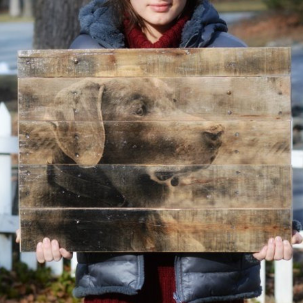 custom rustic wood dog portrait