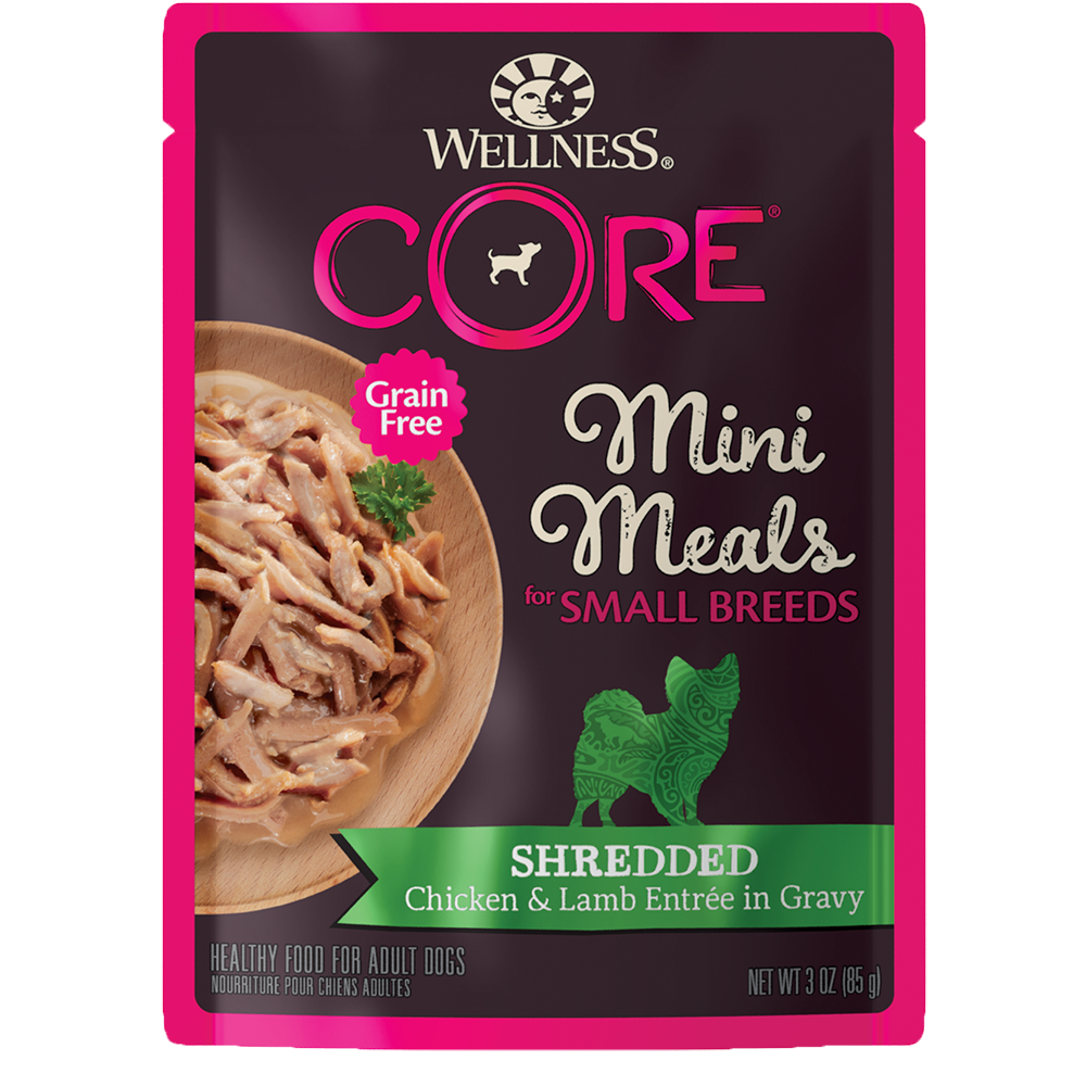Wellness CORE Small Breed Mini Meals Shredded Chicken & Lamb Entrée in Gravy