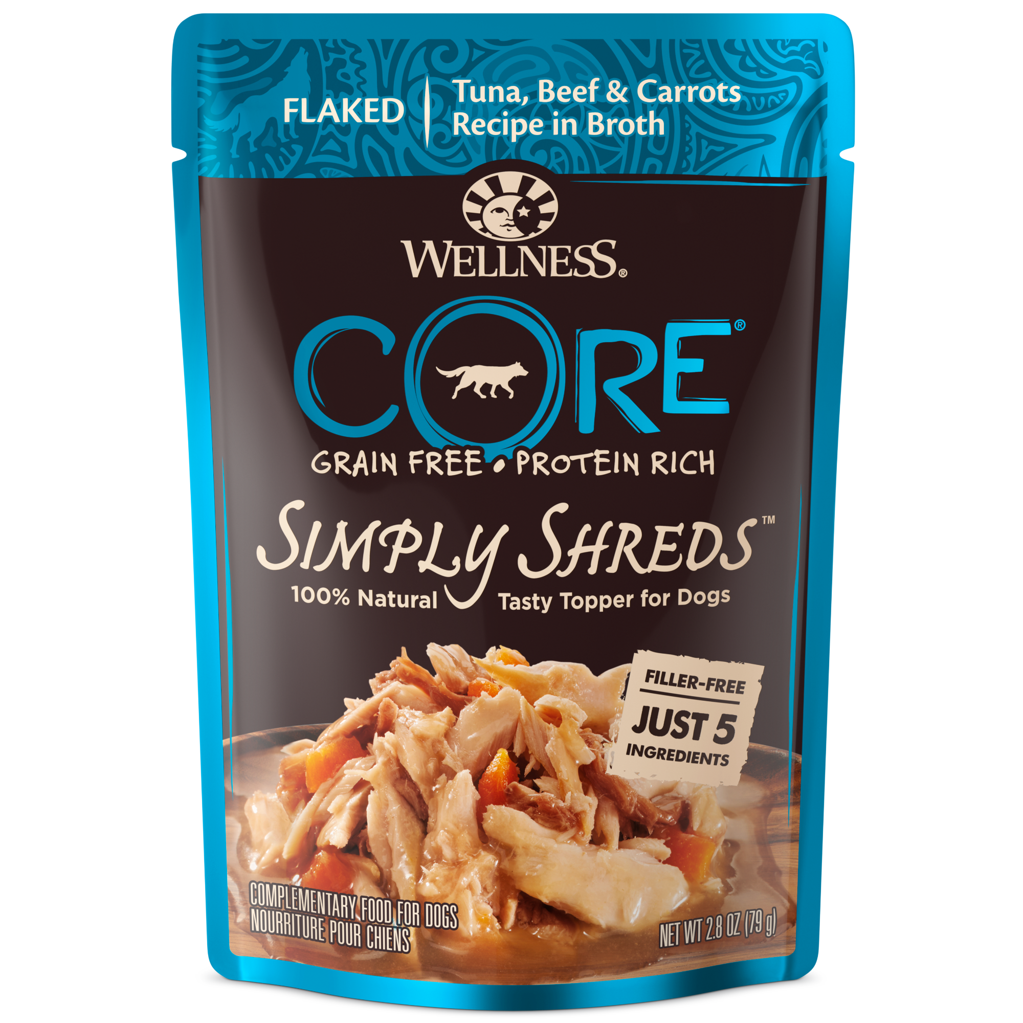 Simply Shreds Dog Tuna Beef Carrots.